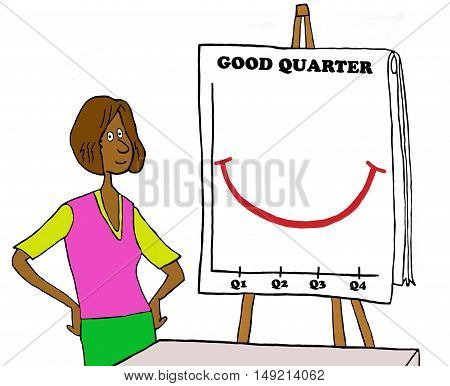 Business color illustration showing a black businesswoman presenting the good quarterly results.