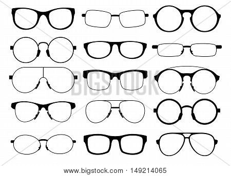 a set of fifteen eyeglasses of various shapes on a white background