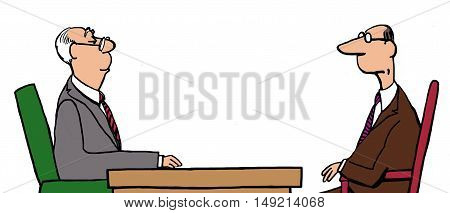 Business color illustration showing two businessmen staring at each other.