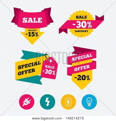 Electric plug icon. Lamp bulb and battery symbols. Low electricity and idea signs. Web stickers, banners and labels. Sale discount tags. Special offer signs. Vector