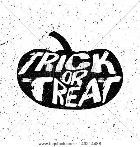 Vintage Halloween pumpkin silhouette with trick or treat text in grunge style. Vector