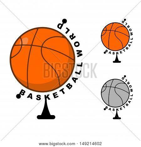 World Basketball. Globe Ball Game. Sports Accessory As Earth. Orange Sphere