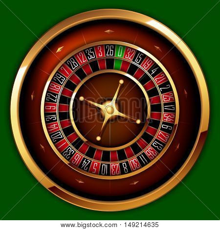 Roulette Casino on the background of green baize