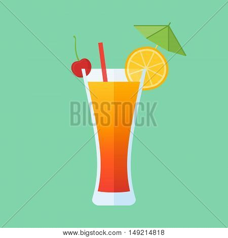 Glass of tequila sunrise cocktail with orange slice and cherry isolated on green background. Flat style icon. Vector illustration.