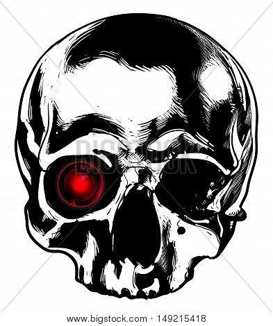 skull with a monocle in his eye socket
