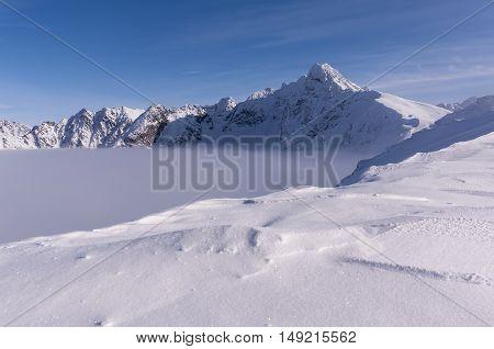 Beautiful mountain winter landscape of the Tatra Mountains.