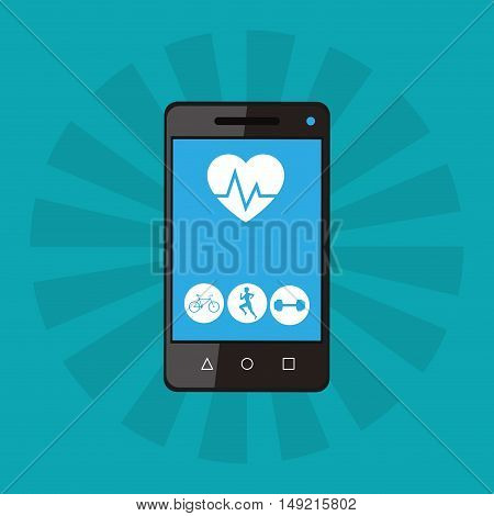 flat design fitness lifestyle related icons on cellphone screen app image vector illustration