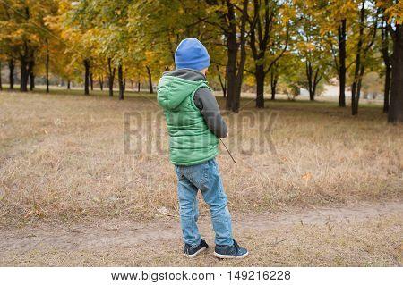 Little Boy In Autumn Land Scape