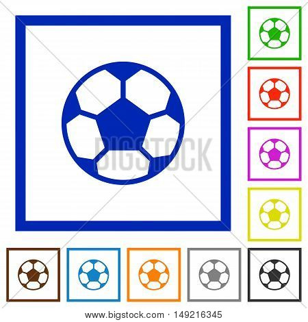 Set of color square framed soccer ball flat icons