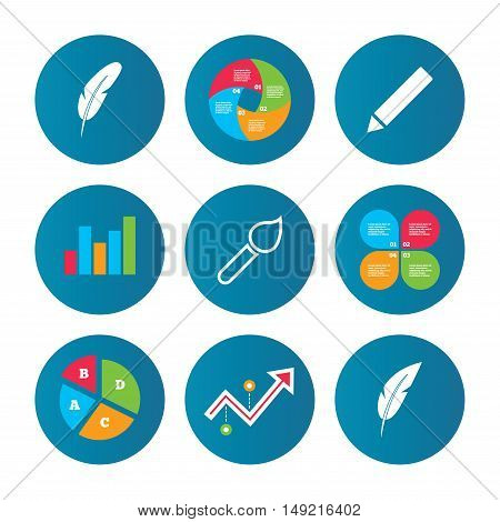 Business pie chart. Growth curve. Presentation buttons. Feather retro pen icons. Paint brush and pencil symbols. Artist tools signs. Data analysis. Vector