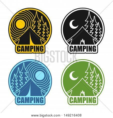 Camping Logo Day And Night. Landscape With Tent And Forest. Emblem Accommodation In Camp. Sun And Mo