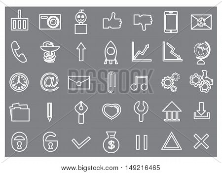 Set contour icons for website white vector illustration
