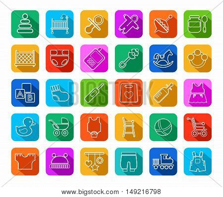 Baby products, contour icons, colored, flat. Clothes, toys and personal items for newborns and young children. Linear white icons on a colored background with a shadow.