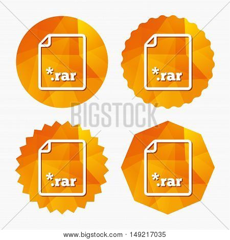 Archive file icon. Download compressed file button. RAR zipped file extension symbol. Triangular low poly buttons with flat icon. Vector