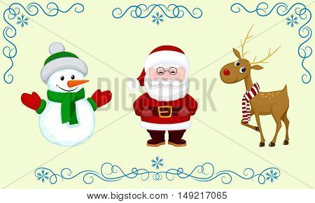 vector set Christmas character Santa snowman deer