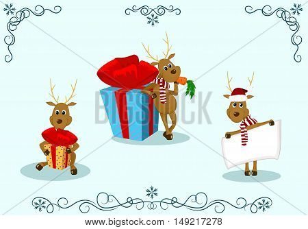 vector illustration isolated reindeer deer with gifts poster scarf cap christmas new year ornament pattern snowflake
