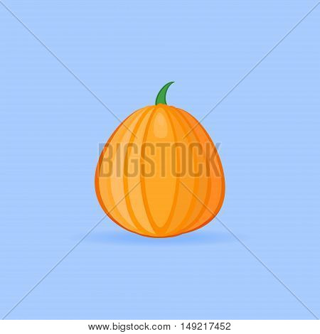 Pumpkin flat style icon on blue background. Vector illustration.