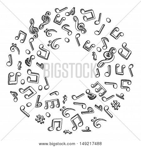 Hand drawn doodle image with music notes