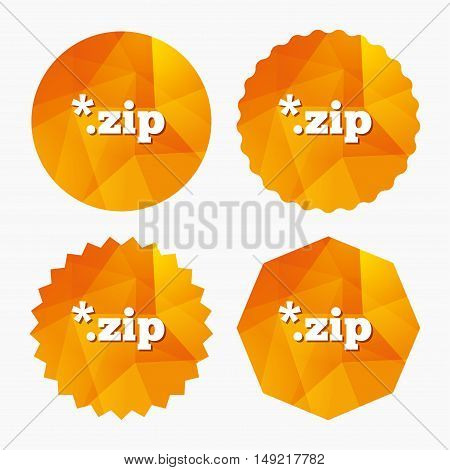 Archive file icon. Download compressed file button. ZIP zipped file extension symbol. Triangular low poly buttons with flat icon. Vector