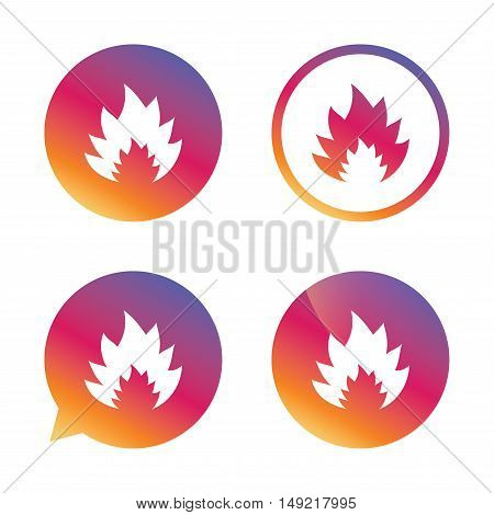 Fire flame sign icon. Heat symbol. Stop fire. Escape from fire. Gradient buttons with flat icon. Speech bubble sign. Vector