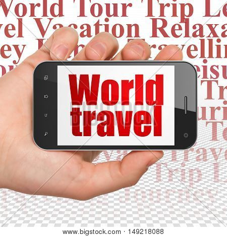 Travel concept: Hand Holding Smartphone with  red text World Travel on display,  Tag Cloud background, 3D rendering
