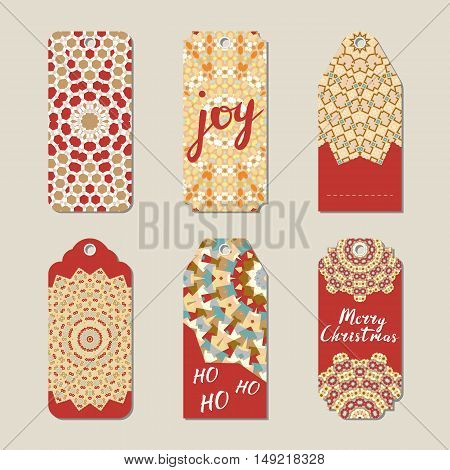 Christmas gift tags with geometric snowflakes vector illustration