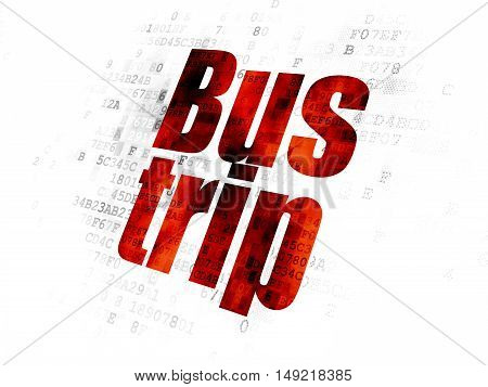 Vacation concept: Pixelated red text Bus Trip on Digital background