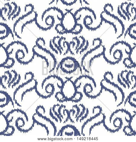 Ikat ogee vector seamless pattern. Abstract swirl background for fabric, print or wrapping paper. Indigo blue on white swirl design.