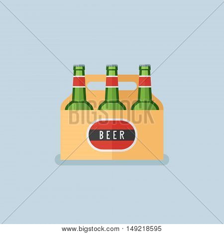 Pack of beer bottles flat style icon. Vector illustration.