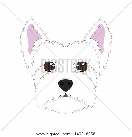 West Highland White Terrier dog isolated on white background vector illustration