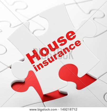 Insurance concept: House Insurance on White puzzle pieces background, 3D rendering