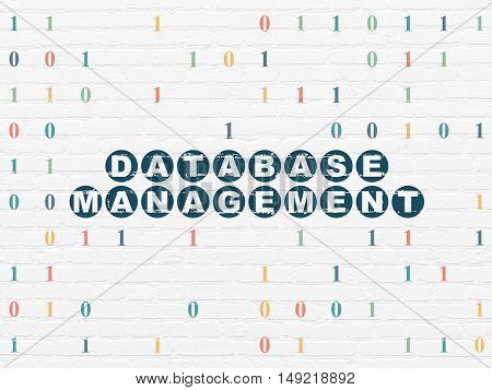 Database concept: Painted blue text Database Management on White Brick wall background with Binary Code