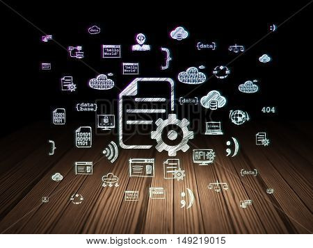 Software concept: Glowing Gear icon in grunge dark room with Wooden Floor, black background with  Hand Drawn Programming Icons