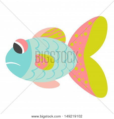 Sad cartoon blue pink yellow fish isolated on white background. Vector illustration.