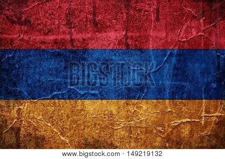 Flag of Armenia overlaid with grunge texture