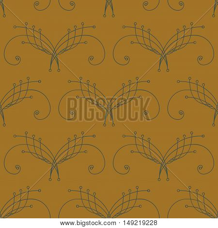 Elegant green thin line damask seamless pattern on ocher yellow. Thin line decoration. Damask pattern. Seamless abstract background. Infinity geometric pattern. Vector illustration.
