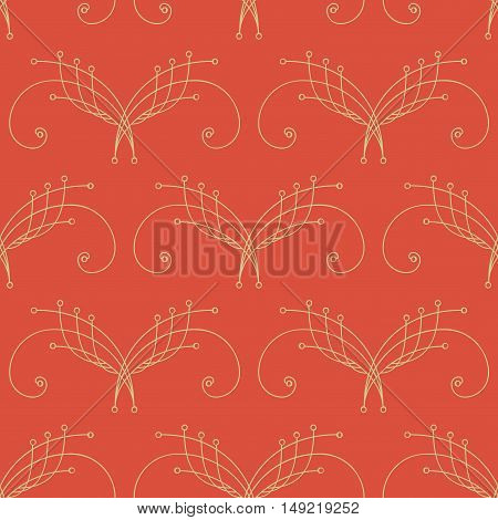Elegant orange and yellow seamless pattern with thin line decoration. Damask pattern. Seamless abstract background. Infinity geometric pattern. Vector illustration.