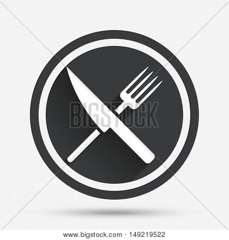 Food sign icon. Cutlery symbol. Knife and fork. Circle flat button with shadow and border. Vector