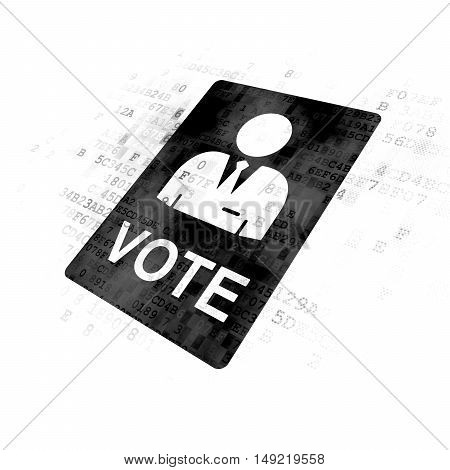 Political concept: Pixelated black Ballot icon on Digital background