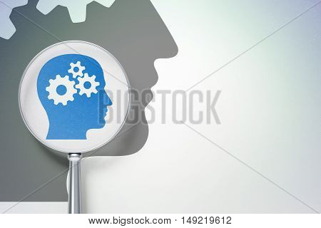 Studying concept: magnifying optical glass with Head With Gears icon on digital background, empty copyspace for card, text, advertising, 3D rendering