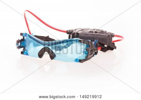 Spy glasses with night vision isolated on white