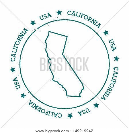 California Vector Map. Retro Vintage Insignia With Us State Map. Distressed Visa Stamp With Californ