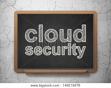 Cloud technology concept: text Cloud Security on Black chalkboard on grunge wall background, 3D rendering