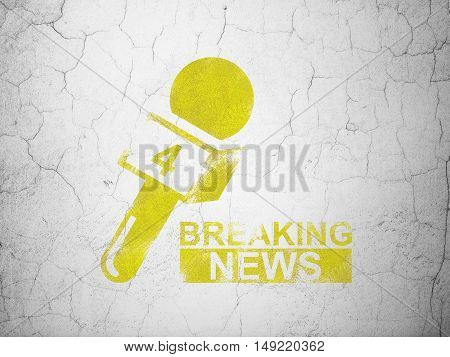News concept: Yellow Breaking News And Microphone on textured concrete wall background
