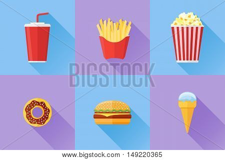 Set of fast food flat icons with long shadow. Donut, hamburger, french fries, popcorn, soda takeaway and ice cream. Vector illustration.