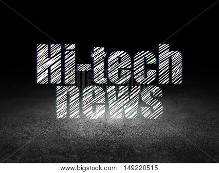 News concept: Glowing text Hi-tech News in grunge dark room with Dirty Floor, black background