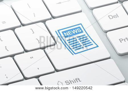News concept: Enter button with Newspaper on computer keyboard background, 3D rendering