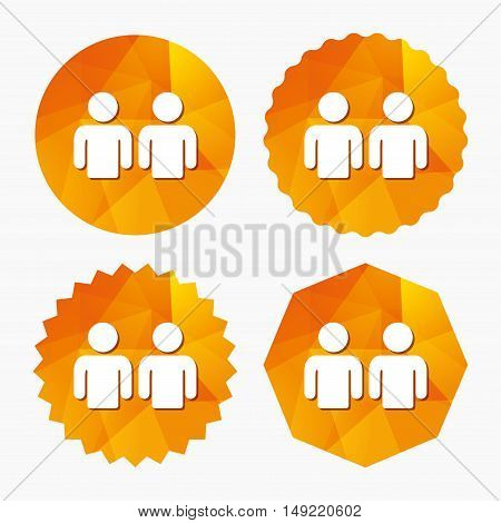Friends sign icon. Social media symbol. Triangular low poly buttons with flat icon. Vector