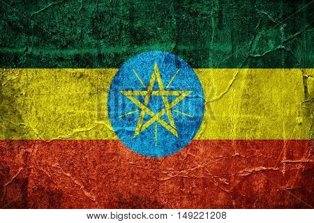 Flag of Ethiopia overlaid with grunge texture