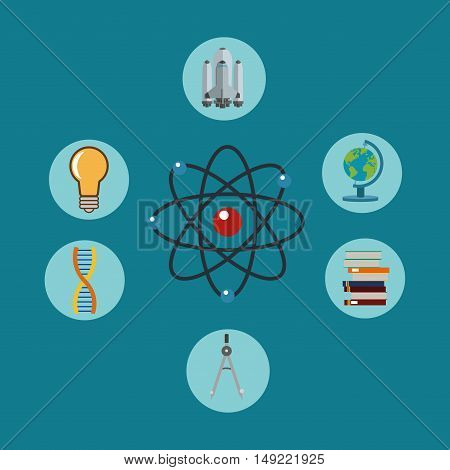 flat design atom representation with science related icons image vector illustration